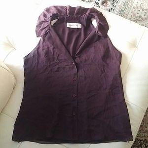 ARMANI - ruffle collar lined silk top